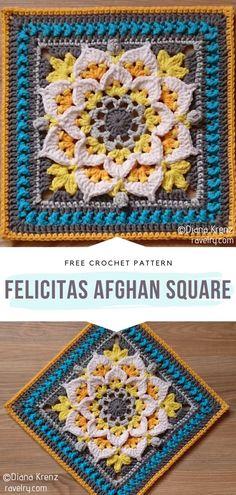 Crochet Squares Afghan, Crochet Blocks, Granny Square Crochet Pattern, Crochet Granny, Crochet Motif, Crochet Stitches, Free Crochet, Knit Crochet, Granny Squares