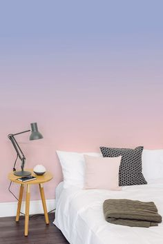 The pink pillow ties the ombre wall to the rest of the room, for a cozy harmonious feel. Bedroom Wall Colors, Bedroom Murals, Wall Murals, Bedroom Decor, Ombre Wallpapers, Home And Deco, Room Paint, Girl Room, Decoration