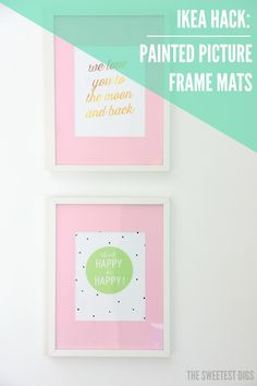 Want to hack IKEA Ribba frames - Paint the mats a color! An easy DIY project that will customize your frames instantly and make your artwork pop.