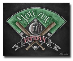 You Are My HomeRun - #romantic sign for #sports #fans Etsy - $17