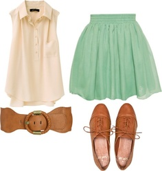 Cute outfit idea with brown, cream, and mint green colors
