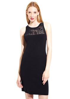CARMEN CARMEN MARC VALVO Sleeveless Pointelle Yoke Neck Dress @ideeli