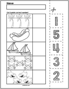 Teach counting skills with Summer Objects! Great for teaching counting skills and number recognition for numbers No prep and great for math centers! Kindergarten Math Worksheets, Math Literacy, Worksheets For Kids, Math Resources, Preschool Writing, Numbers Preschool, Learning Numbers, Autumn Activities For Kids, Math For Kids