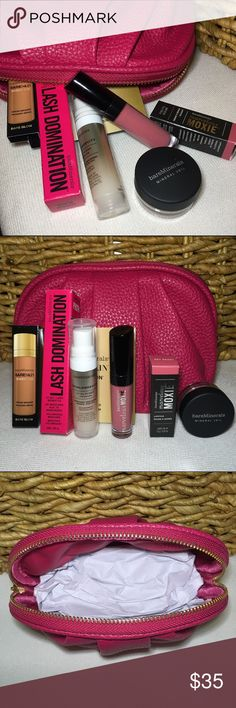 Bare Minerals Travel Essentials All products are new and unused in original packaging. Set includes a pink faux leather makeup bag and travel size versions of Bare Minerals must haves. Products include:  •Skinlongevity Vital Power Infusion (.25 oz.) •Lash Domination Volumizing Mascara in Intense Black (.18 oz.) •Marvelous Moxie Lipgloss in Rebel (.07 oz.) •Mineral Veil Finishing Powder (.03 oz.) •Bare Skin Serum Bronzer (.1 oz.) •Marvelous Moxie Lipstick in Get Ready (.05 oz.) bareMinerals…