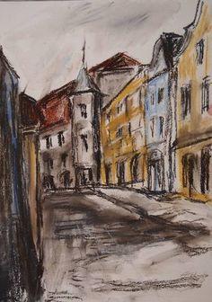 Original Cities Drawing by Ellen Fasthuber-huemer Pastel House, House Drawing, Pastel Drawing, Baroque, Buy Art, Paper Art, Saatchi Art, City Paper, Original Art