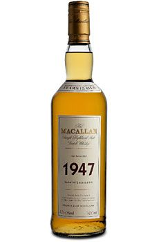 The Macallan Fine & Rare 1947 Single Malt Scotch Whisky. Bottled in 1963, this 15-year-old whisky features a rich, natural beech color, with a palate of light fruits, bitter chocolate and wood spice.