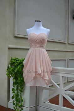 Blush Pink Chiffon Bridesmaid Dress Short Knee by Valiantwang, $89.00