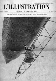 Santos Dumont flying his No. 6 dirigible in Paris, France.