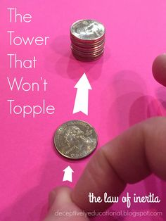 The Tower that Won't Topple (Inertia Science) (Relentlessly Fun, Deceptively Educational) Science Activities For Kids, Preschool Science, Elementary Science, Middle School Science, Science Experiments Kids, Science Classroom, Science Lessons, Teaching Science, Science Fun