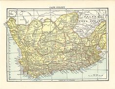 old map of Cape Colony, South Africa. a digital download from ArtDeco. #oldmaps…