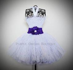 Flower Girl Tutu Dress in Plum & White by PurpleOrchidBoutique, $35.00