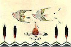 The Peyote Ritual - Monroe Tsatoke - A Song Bird Native American Church, Native American Artists, American Indians, Chief Seattle, Navajo Pattern, Constellation Map, American Illustration, Native Art, Drawing Sketches