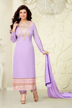 Aayesha Takia -Light Purple Georgette Salwar Kameez