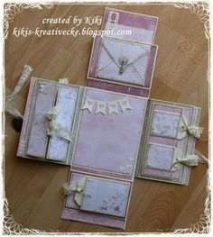 Hallo ihr Lieben! Endlich ist es fertig, mein Minialbum. Viele, viele Stunden hat es mich gekostet, aber es hat sich gelohnt. Mir pe... Mini Scrapbook Albums, Baby Scrapbook, Scrapbook Pages, Scrapbook Journal, Mini Photo Albums, Exploding Box Card, Mini Album Tutorial, Album Book, Pop Up Cards