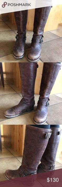 Frye Veronica slouch back zip Distressed dark brown Worn for one winter Frye Shoes Winter & Rain Boots