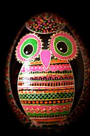 Pysanka Owl Egg by Katyegg Design.