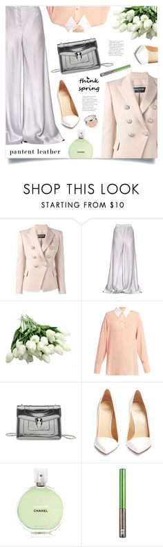 """""""Think Spring"""" by marina-volaric ❤ liked on Polyvore featuring Balmain, Etro, STELLA McCARTNEY, Bulgari, Francesco Russo, Chanel, Urban Decay, Christian Dior and patentleather"""
