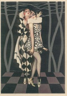 Pierott and Columbine Art Deco postcard