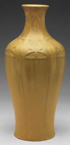 Van Briggle Pottery vase, mustard glaze, 1907-1912, 15-1/2 inches high. Arts and Crafts Movement www.treadwaygallery.com