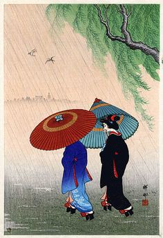 Two Beauties in Rain by Ohara Koson (小原 古邨, Kanazawa 1877 – Tokyo Japanese Illustration, Illustration Art, Ohara Koson, Asian Artwork, Art Chinois, Popular Paintings, Art Asiatique, Art Japonais, Japanese Painting