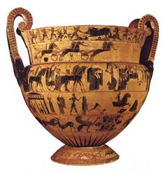 The Francois Vase, circa 570/560 BCE it was found in 1844 in an Etruscan tomb in the necropolis of Fonte Rotella near Chiusi and named after its discoverer Alessandro François.