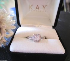 Trending KAY JEWELERS Engagement Wedding Halo Princess Cut Diamond Ring KT White Gold