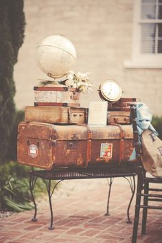 awesome Old World Travel Inspired Shoot Ruffled Vintage Travel Wedding, Vintage Travel Themes, Vintage Theme, Reception Table, Wedding Reception, Wedding Ideas, Lila Party, Deco Champetre, Posters Vintage
