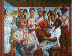 Jaime Colson, Merengue, 1938, Museo Bellapart, República Dominicana (52x68cm)  En el primer término, sentados... De cada lado, de pie, ... En el centro...  Define el ambiente (colores, actitudes, movimientos...)  Voca : el acordeón - la tambora - la güira - las percusiones - el abanico - el mulato - el mestizaje