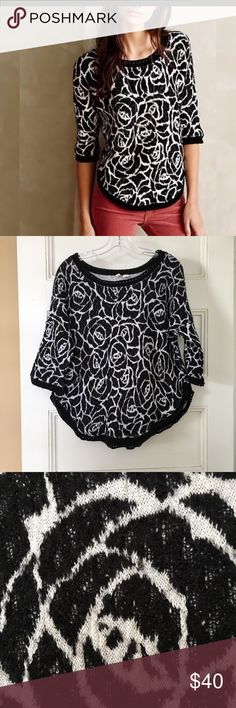 "Anthropologie Moth Halfeti Rose sweater size L Anthropologie Moth Halfeti Rose jacquard sweater, size L, very good used condition. Dolman sleeve, elbow length, high low hem (21"" front, 25"" back). Bust 22"" across front. Anthropologie Sweaters Crew & Scoop Necks"