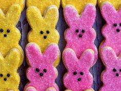 Pink and Yellow shortbread Peep cookies are a fun and creative treat for Easter this year. Pink and Yellow shortbread Peep cookies are a fun and creative treat for Easter this year. Chocolate Marshmallow Cookies, Chocolate Chip Shortbread Cookies, Toffee Cookies, Spice Cookies, Yummy Cookies, Holiday Cookie Recipes, Holiday Cookies, Holiday Baking, Easter Cookies