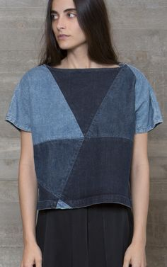 dff601985af7 Rachel Comey Composite Top Denim Patchwork, Patched Denim, Patchwork Dress,  Denim Fashion,