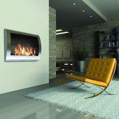 Chelsea Stainless Steel Wall Mount Fireplace #Contemporary, #Design, #Fireplace, #StainlessSteel