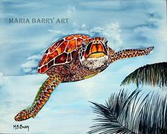 Sea Turtle: I Believe I Can Fly A Turtle flying by MariaBarryArt