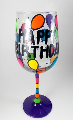 HAPPY BIRTHDAY hand painted wine glass by ImpulsiveCreativity, $22.00
