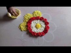 easy quick and simple rangoli designs with flowers and colours, muggulu designs with colours and flowers, flower decorations for pooja room, festival decorai. Simple Rangoli Designs Images, Rangoli Designs Flower, Small Rangoli Design, Colorful Rangoli Designs, Rangoli Ideas, Rangoli Designs Diwali, Diwali Rangoli, Flower Rangoli, Easy Rangoli