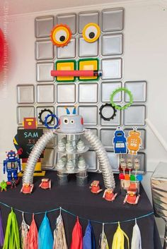 Fantastic robot birthday party! See more party planning ideas at CatchMyParty.com!
