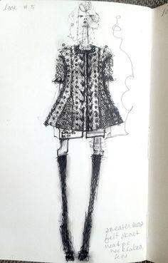 Fashion Sketchbook page - fashion design sketch; knitwear collection development; fashion journal; fashion portfolio // Amanda Henderson
