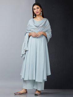 Blue Mulmul Asymmetric Kurta with Polka Printed Palazzo and Crushed Dupatta - Set of 3 Pakistani Fashion Casual, Indian Fashion Dresses, Pakistani Dress Design, Pakistani Outfits, Frock Fashion, Indian Wedding Outfits, Indian Outfits, Patiala, Salwar Kameez