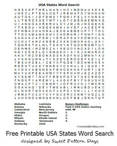 USA States Word Search