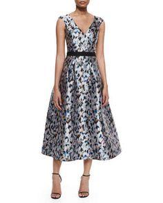 Confetti-Print Tea-Length Dress, Slate by Sachin & Babi Noir at Neiman Marcus.