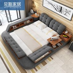 [USD 537.17] Bed cloth fabric bed 1.8 meters double tatami bed trundle-bed modern and simple storage beds soft beds - Taobao agent |Tmall agent - EnglishTaobao.net