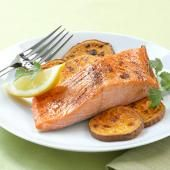 Ancho Glazed Salmon with Sweet Potato Fries. Easy, Healthy Dinner Recipes in 20 Minutes | Fitness Magazine