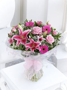 Interflora Baby Girl Hand-tied B10050PSI Make a statement with this sumptuous bouquet of bright pink, luxurious flowers. A new baby girl puts everyone in a celebratory mood, so we™ve designed this gift to be bold, bright and perfect for the  http://www.MightGet.com/january-2017-12/interflora-baby-girl-hand-tied-b10050psi.asp