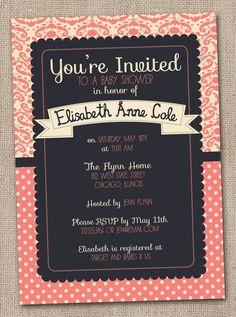 Printable Baby Shower Invitations Coral and Cream Damask and Polka Dots DIY Design