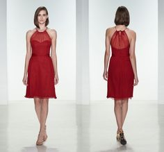 2015 Short Bridesmaid Dresses Red Halter Sleevless Hollow Mini Bridesmaid Dresses Summer Style Cheap