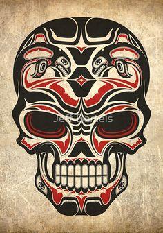 Aged and Worn Haida Native Skull Design by jeff bartels