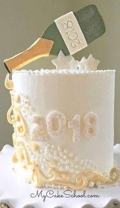 Bolos para Festa de Ano Novo New Year Cake Designs, Wedding Cake Designs, Champagne Cake, Champagne Birthday, Anniversary Cake Designs, Holiday Cakes, Christmas Desserts, Christmas Eve, Cake Decorating Techniques