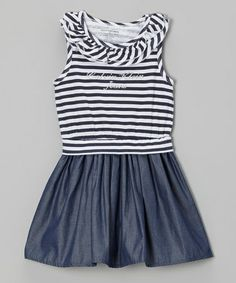 Navy & White Stripe Ruffle Denim Dress - Infant, Toddler & Girls by Calvin Klein Jeans #zulily #zulilyfinds