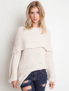 Ribbed Fold-Over Sweater