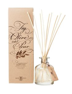 FRAGRANCE DIFFUSER Fig, Olive and Pear The combination of a magnificent European style fig and olive fragrance with an eclectic mix of textures and finishes throughout the packaging gives this collection a distinctly provincial earthy quality. Maine Beaches, Fig, Earthy, Olive Oil, Olive Green, Pear, Diffusers, Fragrance, Organic